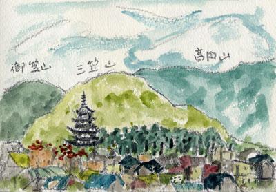惠信先生画 奈良の山並み